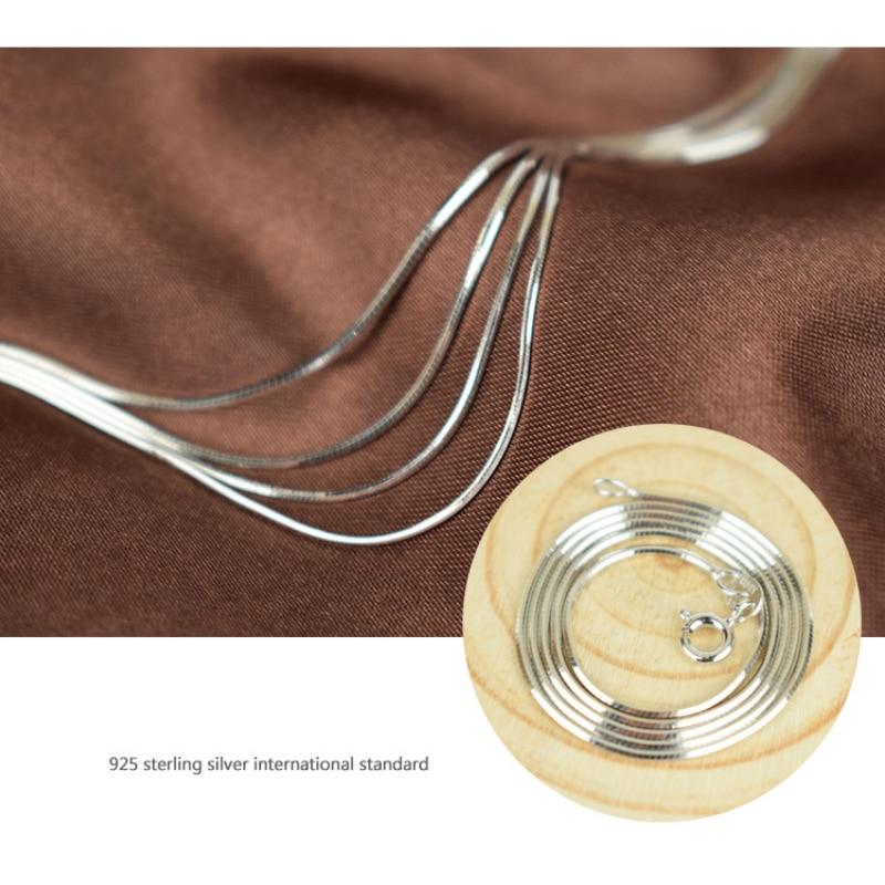Pure 925 Sterling Silver Italia Timbrato Sottile Sottile 0.65mm/0.8mm Collana Della Catena Del Serpente per Pendenti con gemme e perle Pendenti e Ciondoli Moda delle donne Dei Monili