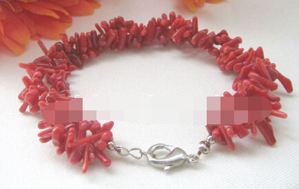 Hot sell Noble- FREE SHIPPING>>>@@ > 10737 2row red coral bracelet- GP clasp