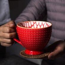 Relief Nordic kaffeetassen keramik frühstück haferflocken dessert tasse personalisierte milch tee tasse