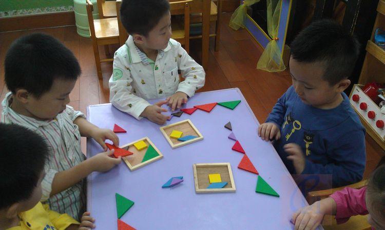 Бесплатная доставка детей 4 шт. интеллектуальной Tangram Puzzel деревянный пазл игрушки, Монтессори со СПИДом детские развивающие toyset