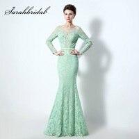 Lange Mouwen Kant en Tulle Aqua Groen Mermaid Prom Jurken met Kralen Crystal Pageant Jurk Elegante Avondfeest Jassen LX072