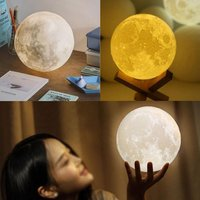 NEW Rechargeable 3D Printing Moon Lamp Light 2 Color Change Touch Switch Bedroom Bookcase Portable Light Home Decor Creative
