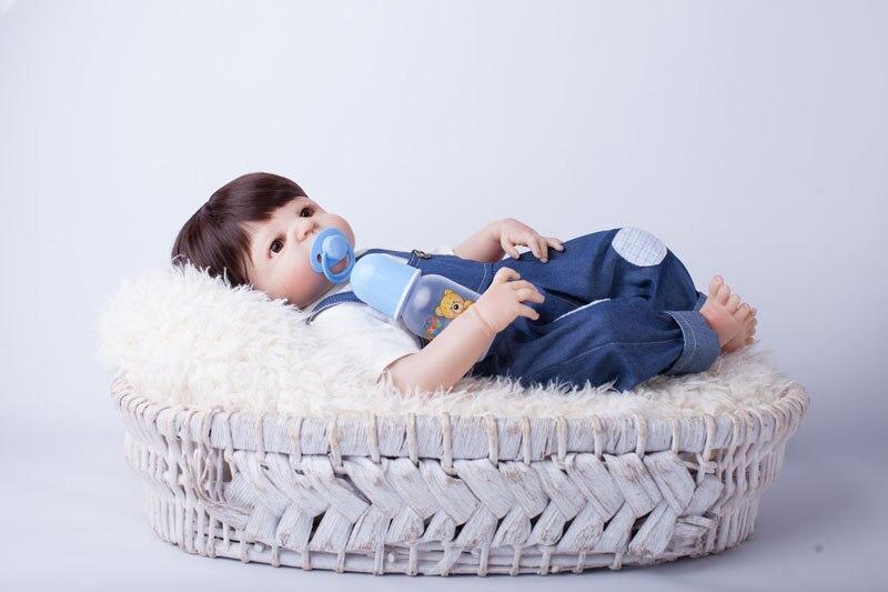 55cm corps entier Silicone Reborn bébé poupée jouets jouer maison nouveau né garçon bébé cadeau d'anniversaire noël présent bain jouet-in Poupées from Jeux et loisirs    3