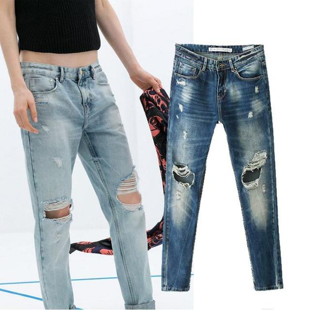 a7e45e7be 2014 Winter Ripped Boyfriend Jeans For Women Plus Size Casual Denim Pants  Jeans Women Punk Destroyed Jeans Calca Jeans Feminina