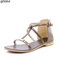 QZYERAI New Black White 2018 Fashion Women S Flat Sandals Metallic Sequins Open Toed Beaded Sandals