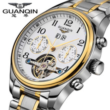 Garantizado! Tourbillon Relojes hombres marca de Lujo GUANQIN Original Auto Relojes mecánicos de Zafiro Resistente Al Agua reloj de la manera