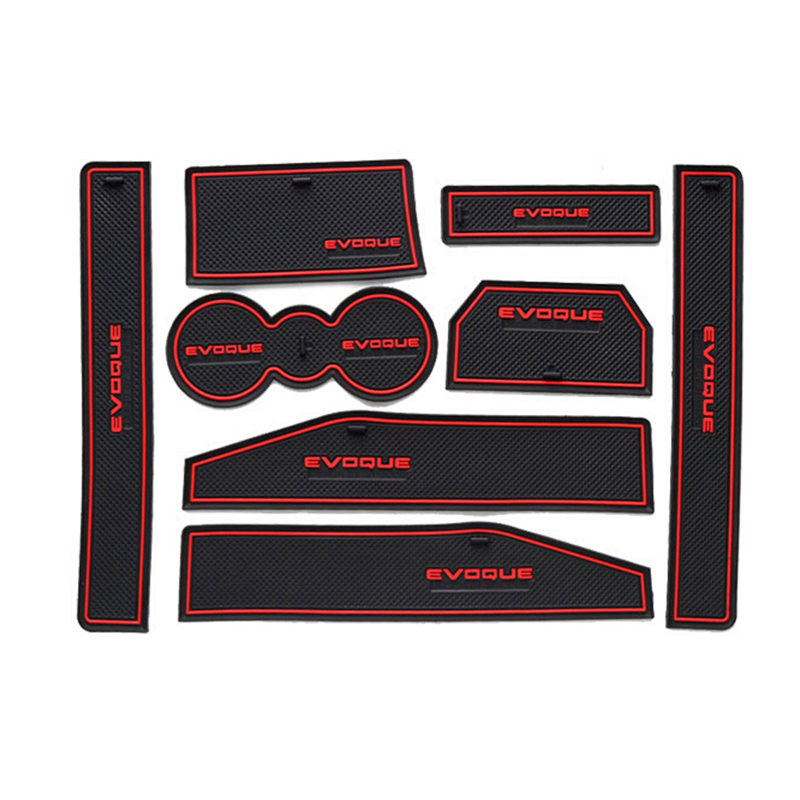 For  Range Rover Evoque 2012 2013 2014 2015 Non-Slip Rubber Interior Car Door Armrest Storage Panel Mat 8pcs