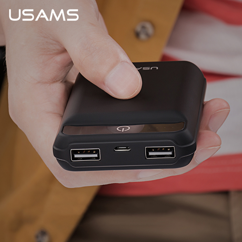 imágenes para USAMS Cargador Portátil Teléfono Móvil Banco de la Energía 10000 mAh Dual USB Powerbank Batería Externa para el iphone Samsung xiaomi mi