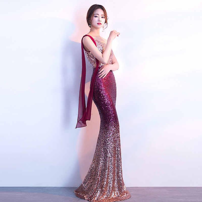 Sexy Rode Gradiënt Sequin Een Schouder Mouwloos Luxe Party Jurk Club Wear Elegante Vrouwen Lange Speciale Gelegenheid Jurken 2018