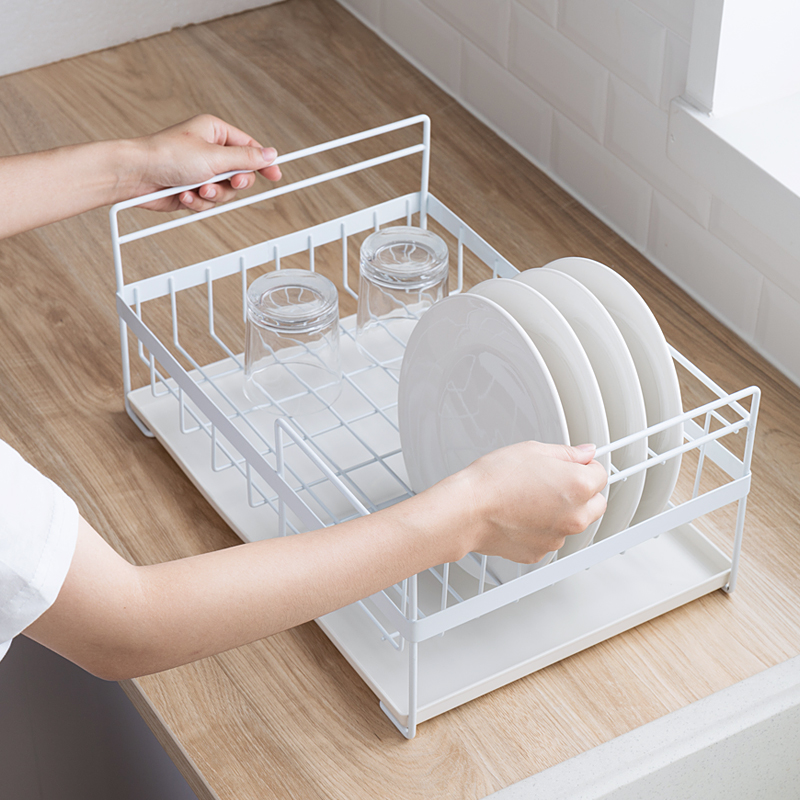 050 Iron Single Layer Large Capacity Drainage Receiving Frame with Chopsticks Tube Bowl and Disk kitchen storage rack 41 28 19cm in Racks Holders from Home Garden