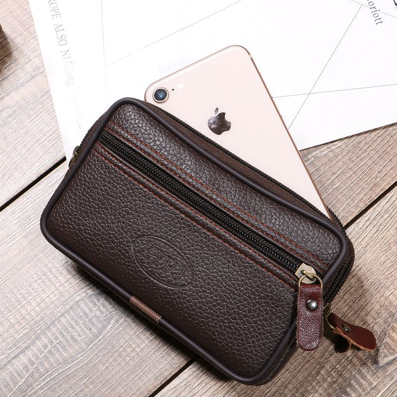 BISI GORO Cow Leather Multi-function Phone Coin Men Waist Bag  On The Belt Outdoor Small Wallet Wear-resistant Fanny Waist Pack