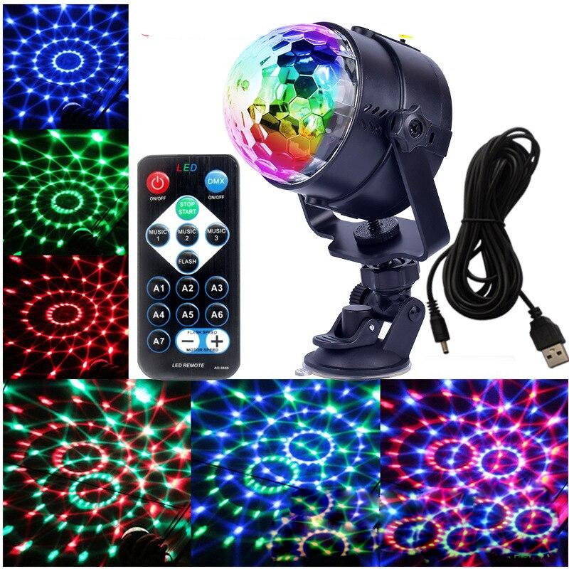 Mini RGB Crystal Magic Ball Led Stage Lamp DJ KTV Disco Light Party Lights Sound IR Remote Control Christmas Projector
