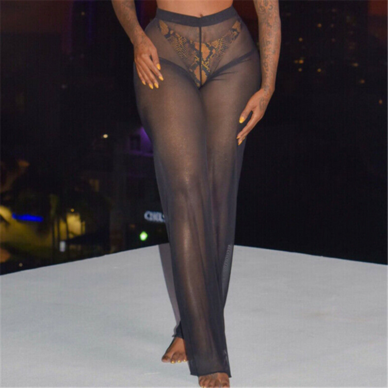 Women Beach Pants Summer Mesh Sheer High Waist Trousers Bikini Cover Up See Through Pants Bathing Suit Cover Ups Ladies Trousers