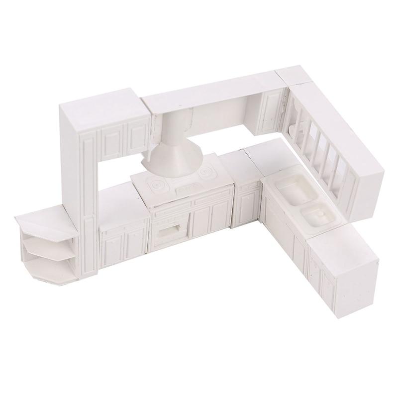 Modern 16pcs White Miniature Doll House Kitchen Furniture Cabinet