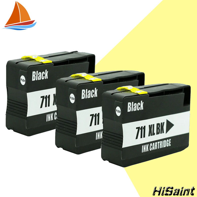 hisaint 3 PK compatible for HP 711XL price High Quality for HP711XL Ink Cartridge For HP Deskjet T120/T520 With Chip CZ133A Real