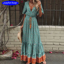 Women Plus Size Summer Holiday Dress Sexy ladies Soft Viscose Sweet loose Wrap long V Neck Lace Up vestid