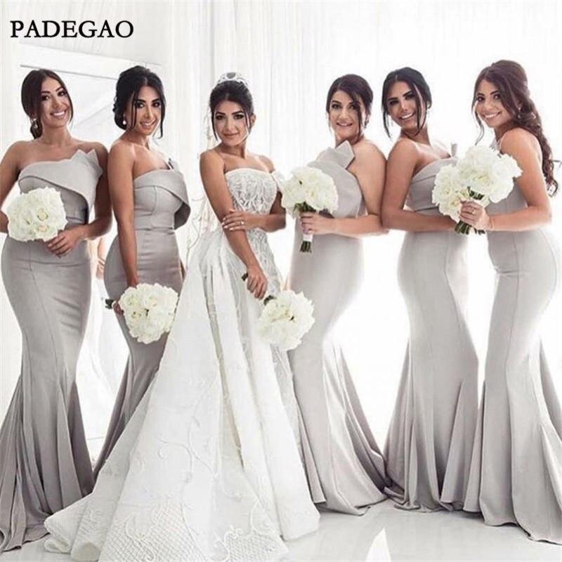 Simple Grey Long   Bridesmaids     Dresses   Mermaid Sleeveless Sweep Train Satin Ruched Cheap   Bridesmaids     Dresses   Prom