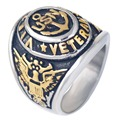 Vietnam Military Veteran Ring War Veteran Jewelry Military Rings for Army, Navy, Marines, USN anchor gold ring for men