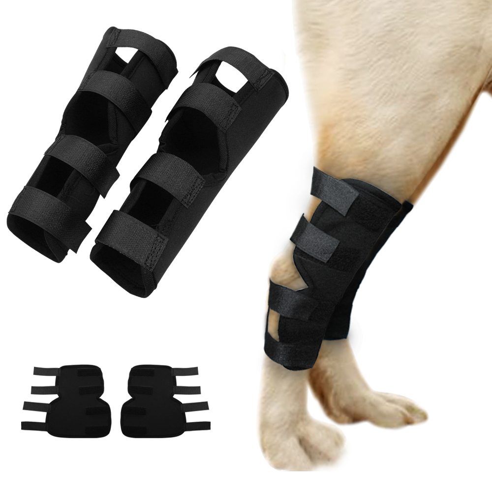 1 Pair Pet Knee Pads Extra Supportive Dog Cannie Rear Leg Hock Joint Wrap Protects Injury Recover Legs Dogs Protector