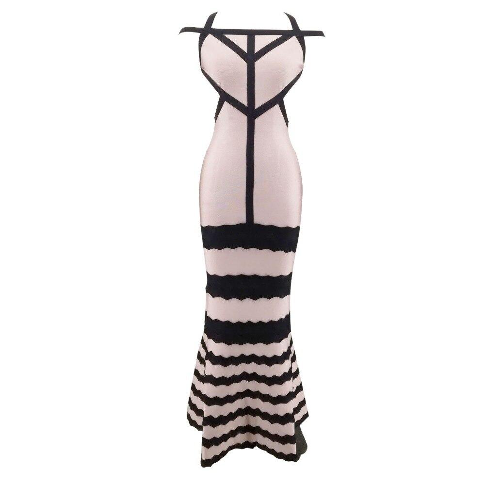 Elegant Bandage Maxi Dress Ladies Celebrity Bodycon Dresses Sexy Spaghetti  Strap Color Patchwork Rayon Mermaid Vestido 22e447955b2f