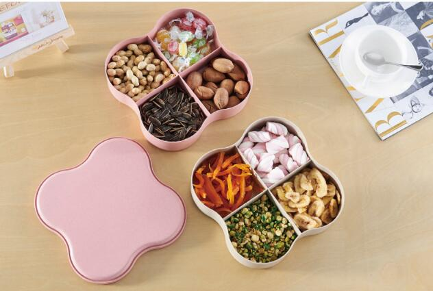 1PC 4 Lattice 2 Layer Fruit Tray Household Snack Plate Compote Dish Multifunctional Candy Dry Fruit Plates With Lid NS 003