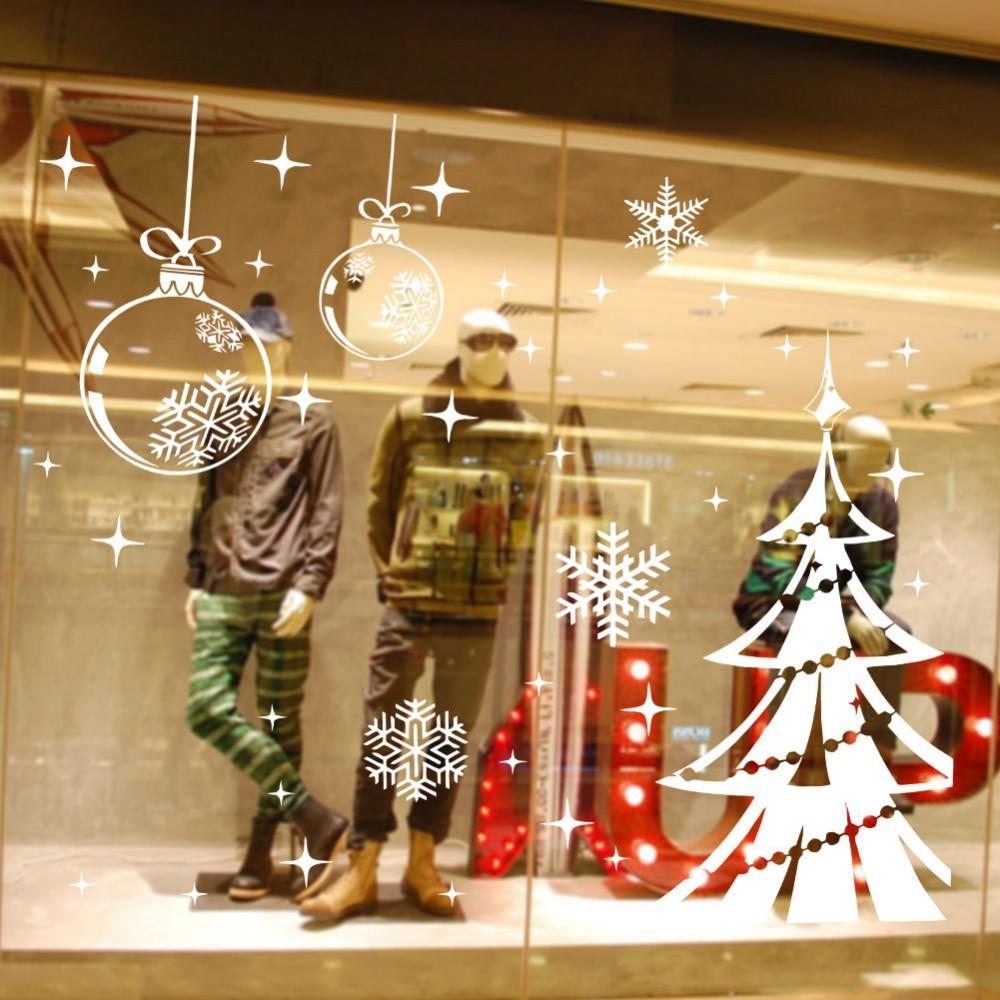 Merry Christmas xmas52 snow tree Walls Stickers glass DIY Wall Art ...