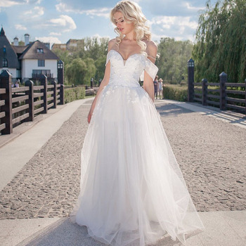 Eightale Boho Wedding Dress Beach Appliques Lace Sexy Wedding Gown Sweetheart A-Line Off the Shoulder Bride Dress suknia slubna