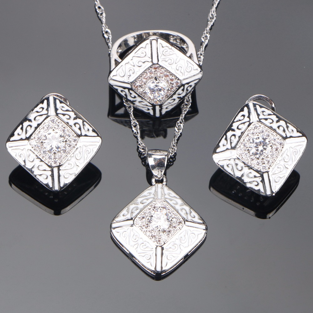 Bridal 925 Sterling Silver Wedding Jewelry Sets For Women Costume Jewelry White CZ Ring Pendant Necklace Earrings Set Gifts Box