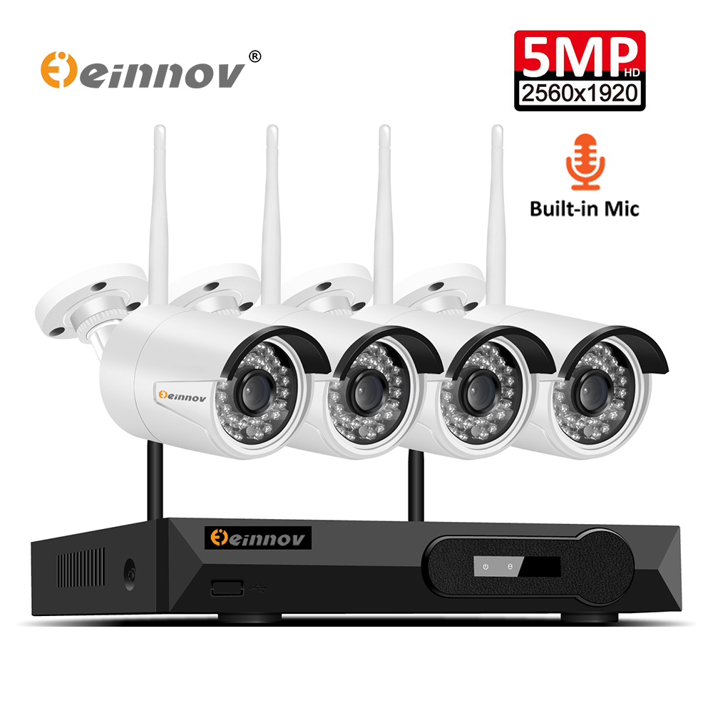 Einnov 4CH H 265 Outdoor Security Camera System Wireless With Audio Recording Video Surveillance 5MP Kit