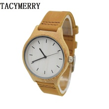 где купить Handmade Wooden Watch For Female With Bamboo Case Leather Strap Factory Wristwatch Drop Shipping по лучшей цене
