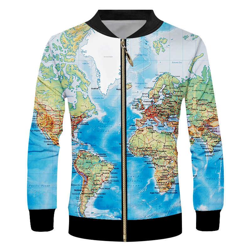 Novidade 3d jaquetas de beisebol mapa do mundo todo impressão zip up colégio jaqueta casacos dos homens casual varsity jaqueta equipe personalizado S-6XL