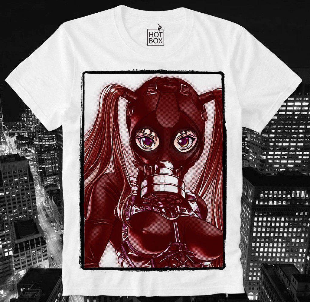 HOTBOX T <font><b>SHIRT</b></font> <font><b>ANIME</b></font> MANGA HENTAI GAS MASK PORN PORNO <font><b>SEXY</b></font> GIRL BDSM SM JAPAN Stranger Things Design T <font><b>Shirts</b></font> image