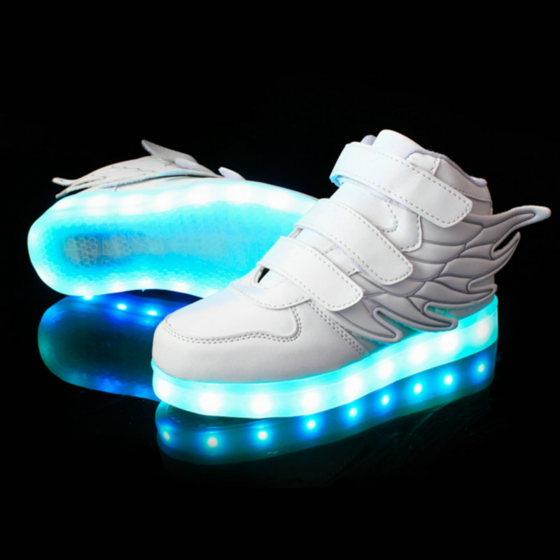 Kids LED Luminous Sneakers 2018 New USB Charging Basket Children Sports Shoes With Light Up Boys&Girls Casual Shoe wing 25~37Kids LED Luminous Sneakers 2018 New USB Charging Basket Children Sports Shoes With Light Up Boys&Girls Casual Shoe wing 25~37