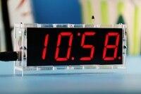 Phone charger 5 v clock kit fai da te ha condotto l'orologio digitale a quattro colori opzionale fai da te kit orologio tempo di visualizzazione della temperatura più nuovo
