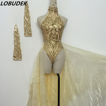 Female Singer Sexy Costume Sleeveless Gold Bodysuit Sequins Embroidery Jumpsuit Long Skirt Nightclub Party Show Dance Outfit