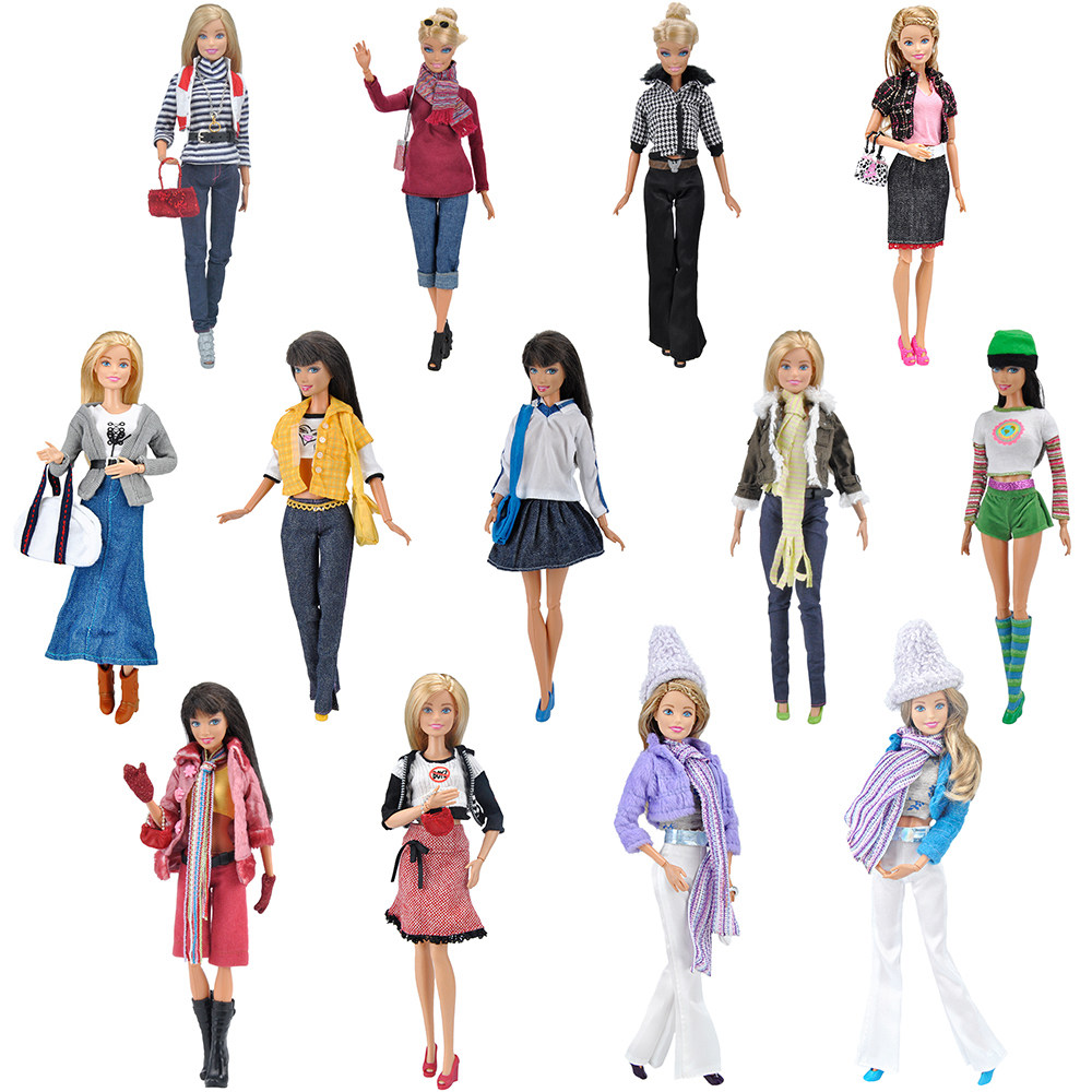 E-TING 1/6 High Fashion Clothes For Barbie Casual Wear Girls Suit Blouse Pants Doll Accessories Necklace Handbag Shoes Toys Gift