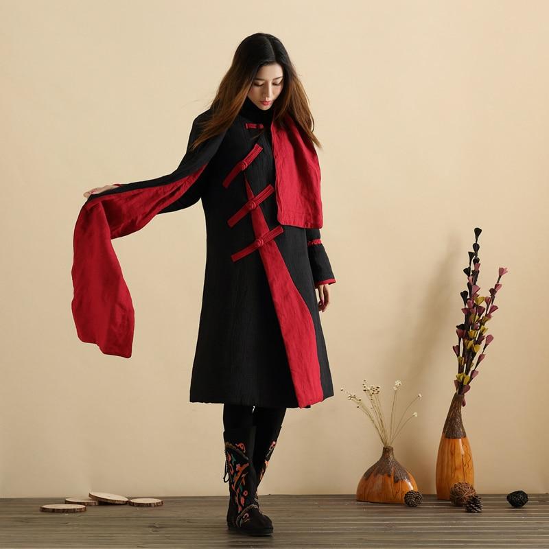 Geacă de toamnă lungă îmbrăcată în stil chinezesc Mantou lung - Îmbrăcăminte femei