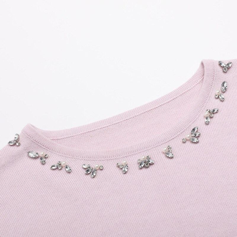 Chandail Femme Dentelle Pour Avec Mode Couture Perles Surdimensionné Cloué Tricoté Noir Et Blouson Rose Printemps 2019 Longue Automne qwtEB1c7