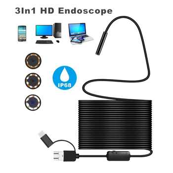 1200P Android 8MM Micro USB Type-c USB 3-in-1 Computer Ear Cleaner Endoscope Borescope Tube Waterproof Inspection Video Camera