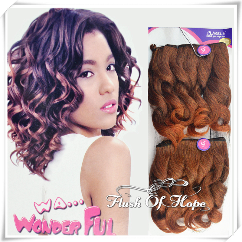 2 packslot noble wa alicia ombre two tone color short wave synthetic hair extensions weft 250 gram 9 one pack for full head - Coloration Gram