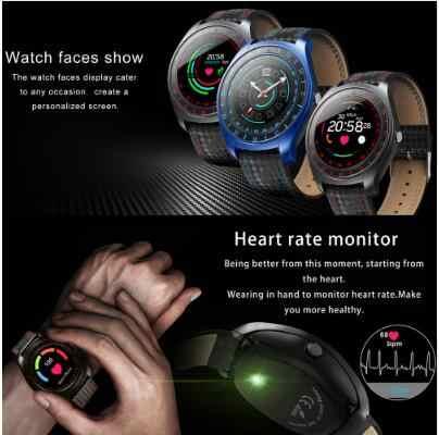 V10 Смарт-часы для мужчин с камерой Bluetooth Smartwatch Шагомер монитор сердечного ритма Sim карта кожаные Наручные часы для телефона Android