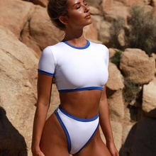 64daaaa0621 High quality Custom New Style Sleeve Block Color Combined Swimsuit Sexy  Sport Bikini Set(China