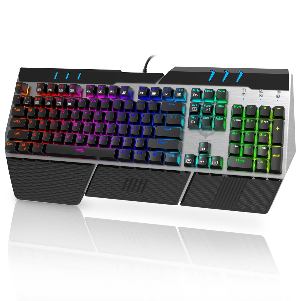 HAVIT Wrist Relax Design Metal Base 104 Keys 10 RGB Backlit Modes Wired Mechanical Gaming Keyboard with Blue Switches HV-KB378L