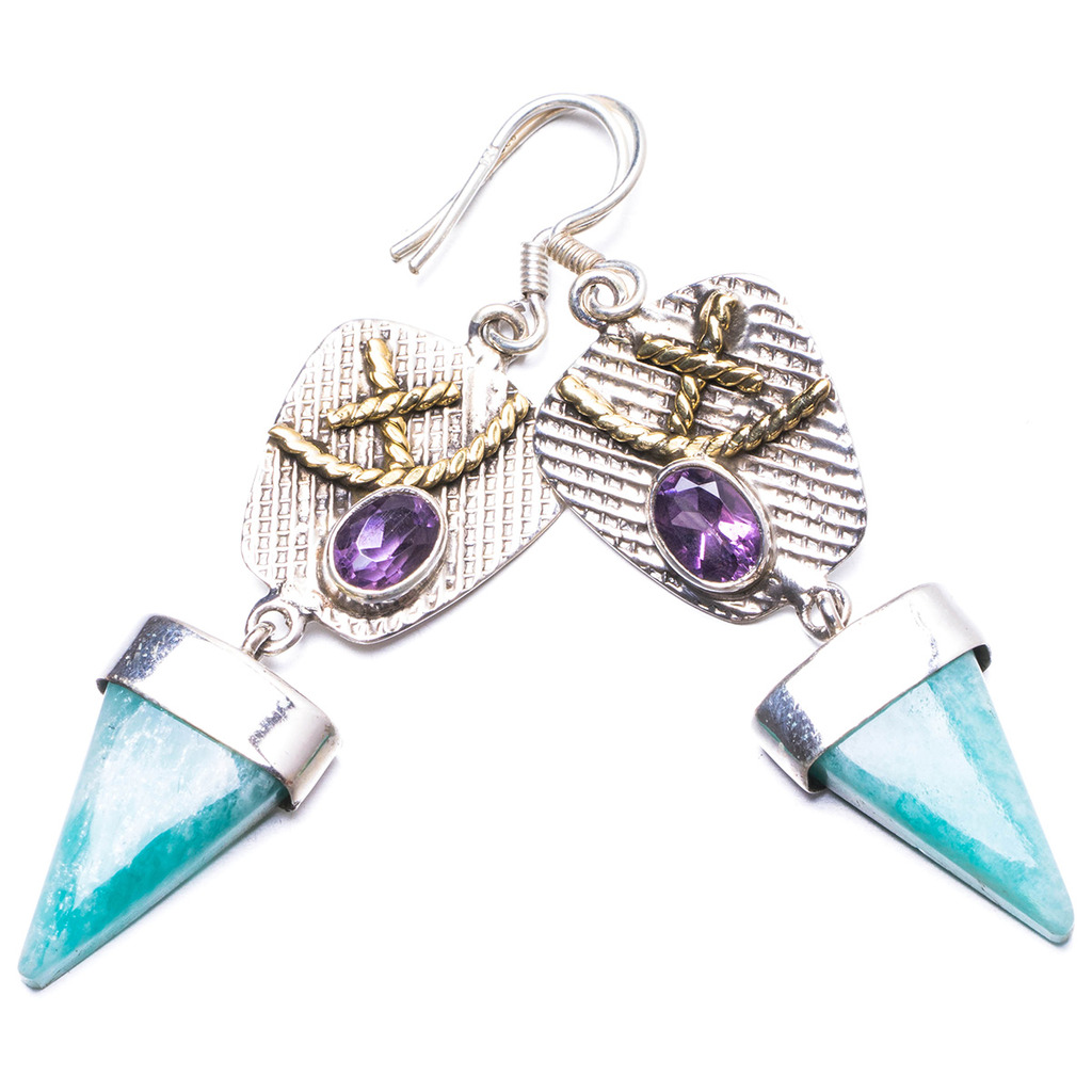 Natural Two Tones Blue Aquamarine and Amethyst Handmade Unique 925 Sterling Silver Earrings 2.25 Y2460