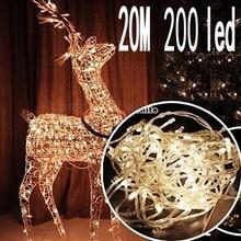 Новинка, 20 м, 200 светодиодов, сказочные огни, многоцветные, 220 В, водонепроницаемые, праздничное светодиодное освещение, рождественские/Свадебные/Вечерние огни для украшения