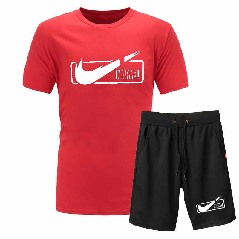 2019 новый высококачественный брендовый мужской костюм-футболка из 2 предметов, Повседневная футболка с короткими рукавами и круглым вырезом, Модная хлопковая футболка с принтом и шорты для мужчин