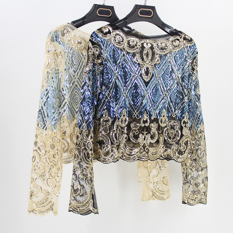Detail Feedback Questions about Bling Bling Women Body Crop Top Blouse  Feminina Floral Check Embroidered Lace Mesh Long Sleeve Sequined Beaded  Short Shirt ... 73214be84917