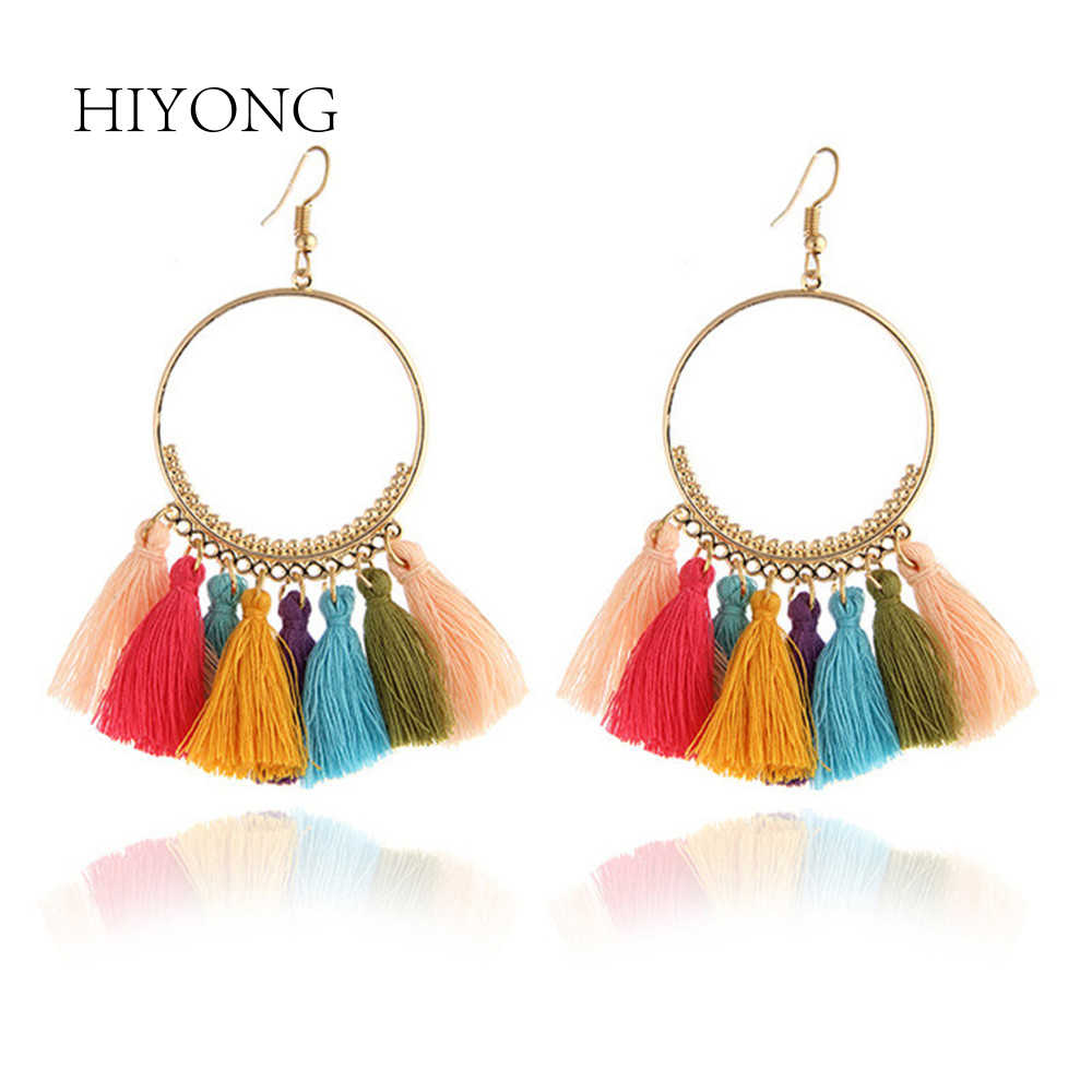 Bohemian Handmade Statement Tassel Earrings for Women Vintage Round Long Drop Earrings Evening Party Bridal Fringed Jewelry Gift