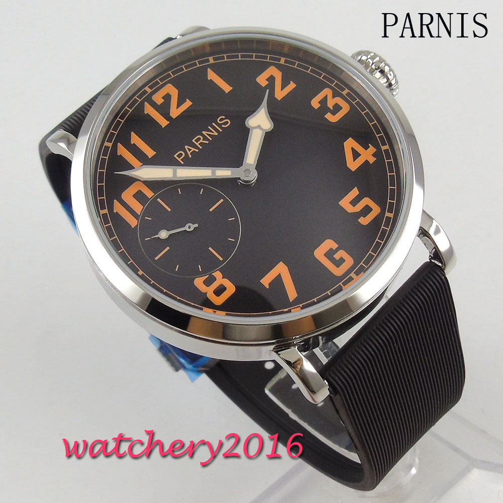 New 46mm Parnis Black Dial Orange Numbers Stainless steel polished case Mechancial Hand-Winding 6497 Movement Men's Wrist Watch цена и фото