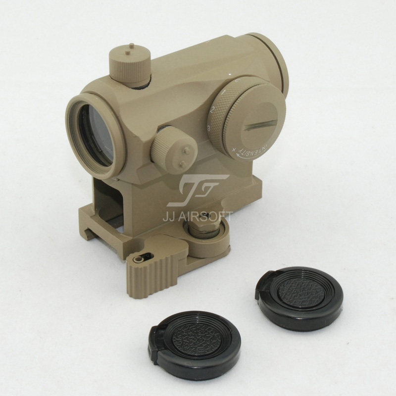 JJ Airsoft Micro 1x24 Red Dot with QD Riser Mount (Tan) jj airsoft vsr10 vsr 10 metal